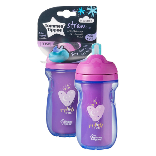 Tommee Tippee Active Straw Insulated Cup non versato BPA Free Age 12m + Rosa 260ml Cuore